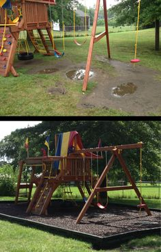 Before & After of a church playground. No more mud puddles, added rubber mulch for playground surfacing.  It is cleaner and dries faster than wood mulch.  #playsafe #playgrounds #mudpuddles #roosterrubber #rubbermulch
