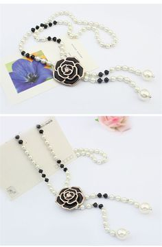 Beads Pearls Rhinestone Embellished Rose Flower Pendant Sweater Chain Necklace Black YW15041808.http://www.clothing-dropship.com