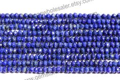 Lapis Lazuli Faceted Roundel (Quality AA) / 3.5 to 4 mm / 6 to 8 Grms / 36 cm / LA-024 by GemstoneWholesaler on Etsy