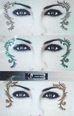 Exotic Eye Gems Crystal Temporary Tattoo Clubwear Burlesque Dancer Body Face Art