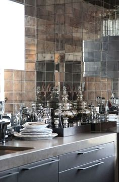 Antiqued Mirrored Tile for Kitchen Back Splashes and Bathrooms