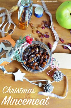 Homemade Mincemeat delicious and boozy Christmas staple full of sweet raisins, cranberries, sultanas, crunchy almonds and apples - dead simple to make!
