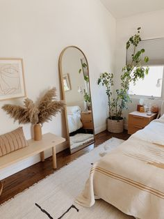 our master bedroom video tour (with links to everything) – almost makes perfect - decorating a new home Boho Bedroom Decor, Room Ideas Bedroom, Small Room Bedroom, Home Bedroom, Boho Room, Bedroom Inspo, Bedroom With Plants, Long Bedroom Ideas, Boho Decor