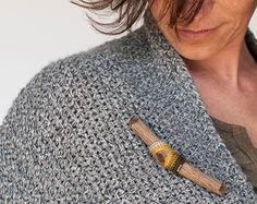 Wooden Jewelry. Brooch Eco Friendly. Crochet by idniama on Etsy