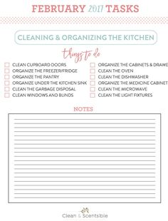 The February Household Organization Diet. Everything you need to get your kitchen cleaned and organized.