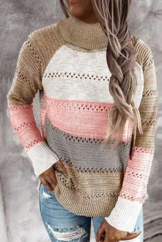 Hooded Sweater, Pullover Sweaters, Pink Highlights, Hoodie Pattern, Striped Turtleneck, Knit Fashion, Sweater Shop, Color Blocking, Turtle Neck