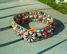 Rainbow Calsilica Turquoise Iolite Sponge Coral - Leather 3 Row Cuff   GemOnAWire - Leather Craft on ArtFire