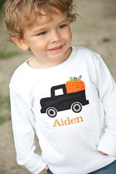 Fall Pumpkin and Truck Monogrammed Shirt or Onesie, Halloween, Thanksgiving, Boys Fall Shirt, Pumpkin Shirt