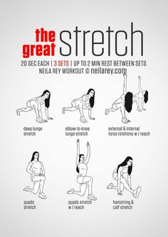 Instructions: Stretch for 20 seconds, change sides and repeat - then move on to the next stretch until the set is done. Rest up to 2 minutes and repeat the whole set again 3 times