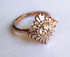 Might want a bit less sunburst effect - white sapphire starburst ring