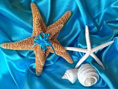 @Jaclynn Nell-Beach Destination Wedding Starfish Ring Bearer Pillow with Turquoise (OR CUSTOM) Ribbons by JsWorldOfWonder, $26.00