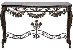 19th-C. Wrought Iron Marble Console