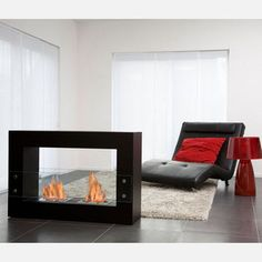 """Qube Fireplace Black 47.5"""", $2,241, now featured on Fab.  Bioethanol portable fireplace, isn't that trippy?"""