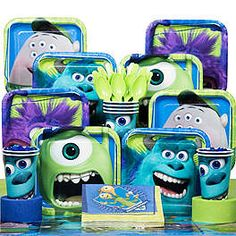 OFF all patterned tableware. Find Monsters Inc. themed party supplies, decorations, favors, balloons and invitations for your next bash at Birthday in a Box. Fiesta Monster University, Monsters University, Monster University Birthday, Monster Inc Party, Monster Birthday Parties, 3rd Birthday Parties, 2nd Birthday, Birthday Wishes, Easy Birthday Party Games