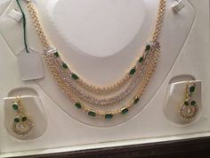 Cubic Zircons and Emeralds Necklace photo