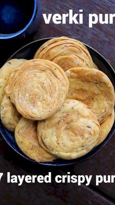 verki puri recipe, how to make crispy varki puri, verki snack with step by step photo/video. crispy & flaky snack recipe with plain flour, pepper & cumin. Puri Recipes, Paratha Recipes, Spicy Recipes, Cooking Recipes, Diwali Recipes, Diwali Snacks, Cooking Tips, Snacks Recipes, Dinner Recipes