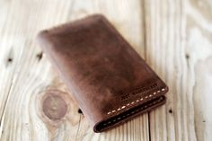 Iphone 6 wallet. Artisan leather wallet for iPhone 6. Hand stitched iphone leather case. Dark brown leather. Gift for men.