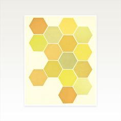 Minimalist Abstract Art, Geometric Honeycomb Art - Shades of Yellow Honeycomb Pattern, Shades Of Yellow, Abstract Print, All Print, Texture, Simple, Unique Jewelry, A5, Prints