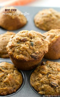 Super-soft and loaded with all kinds of healthy goodness, these classic morning glory muffins are the best way to wake up! @WholeHeavenly