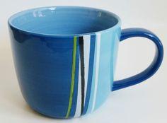 Starbucks Blue Green Black Striped Coffee Cup Mug 2008 16 oz NEW NWT  #Starbucks