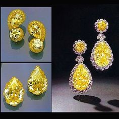 The Duchess of Windsor's yellow diamonds. The large pear shapes were purchased…