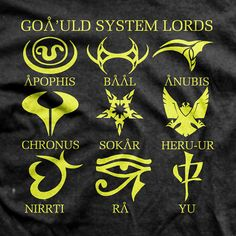 Stargate SG1 - Goa'uld System Lords T-shirt - gotta get this for Dustin