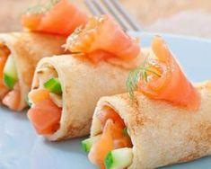 Roulés de crêpe au saumon fumé et pomme verte