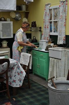 Memories in the kitchen-I always wanted to be in the kitchen with my grandmother.  I would fold up my apron at the waist so it wouldn't drag on the flour, wrap a scarf around my head, and do whatever she did.  Still do!