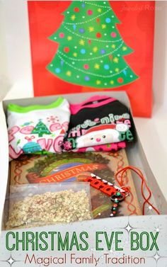 Love, love, LOVE this idea! Put together a Christmas Eve Box for kids to open: include new pj's, a holiday book to read before bed, reindeer food to sprinkle in the yard and Santa's magic key. Such a fun family tradition! Christmas Eve Box For Kids, All I Want For Christmas, Christmas 2014, Little Christmas, Winter Christmas, All Things Christmas, Holiday Fun, Family Christmas, Christmas Eve Box Ideas Kids