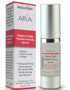 Best Anti Aging Firming Serum - 3 Peptides, Hyaluronic Acid, Matrixyl and Collagen Tighten Face And Skin Around Eyes - Helps Reduce Fine Lines, Wrinkles and Diminishes Age Spots - Anti-Wrinkle Non-Comedogenic Professional Skin Care - Paraben and Cruelty Free - Step 1 Aria Skin Care Visio Elan™ http://www.amazon.com/dp/B00GHXHSPY/ref=cm_sw_r_pi_dp_kUkNvb16TE9MD