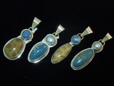 Leland Blue stone, Petoskey & Pearl pendants in sterling silver.