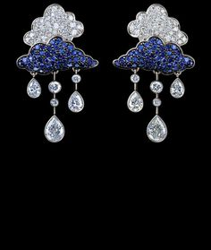 Jewellery Theatre CLOUDS EARRINGS Ref: R_2_000 WP13 18K white gold  82 diamonds 1,62-1,65 ct 98 blue sapphires 0,68-0,71 ct