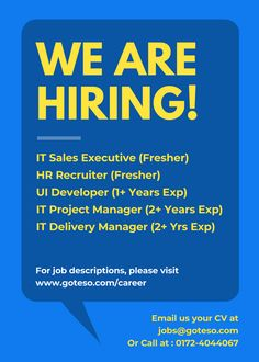 #GotesoJobs #UIDeveloperJobs #ProjectManagerJobs #DeliveryManagerJobs #ITSalesExecutiveJobs #HRRecruiterJobs #JobsInMohali Job Location - Phase 7, Industrial Area, Mohali Share Your CV at jobs@goteso.com Reference for these profiles will be highly appreciated !!