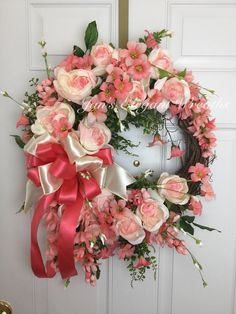 A personal favorite from my Etsy shop https://www.etsy.com/listing/507968512/peony-wreath-peach-and-white-peony