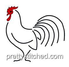 Rooster 2 – Pretty Stitched Line Design, Machine Embroidery, Rooster, Stitch, Pretty, Full Stop, Roosters, Stitches, Costura
