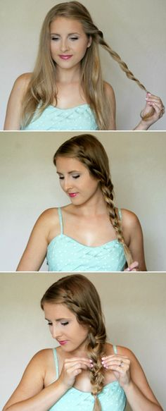 We're head over heels for this dreamy side braid! This hair tutorial is seriously outta-this-world easy! It looks great with a high-fashion outfit or an everyday, on-the-go style. Click to learn how to master this 3-step braided hairstyle.