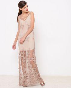 12Storeez :: Платье из кружева с вырезом на спине без рукавов (бежевое)