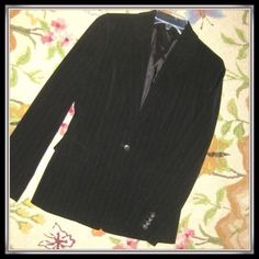 black pinstripe jacket one button in front , thin pinstripe. tag has been taken out because it was scratchy. Tahari Jackets & Coats