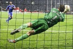 Edwin van der Sar's famous penalty save in the Champions League final against Chelsea
