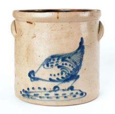Four gallon stoneware crock, 19th c., with a chicken pecking corn