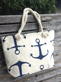 Shop with a Heart. Natural Canvas Anchor and Rope Tote - Shop LuLu supports job training for young adults to gain future paid employment.