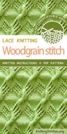 Woodgrain Stitch Pattern is found in the Eyelet and Lace Stitches category. FREE written instructions, PDF knitting pattern. #knittingstitches #knitting #laceknitting
