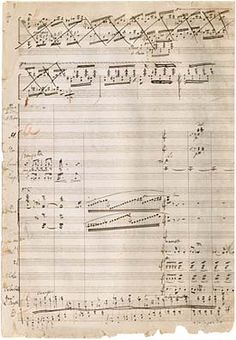 A page from the manuscript of Liszt's Piano Concerto No. 1 in E-flat major, after the opening cadenza