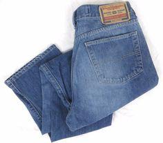 DIESEL Kulter Jeans 34 x 31 Regular Straight Leg Blue Faded Denim Division Italy #DIESEL #ClassicStraightLeg