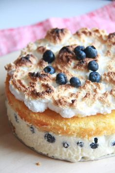 cream cheese and blueberry cake.