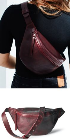 Oversized burgundy leather fanny pack by DAPHNY RAES