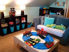 I like how she turned a small spare bedroom into a playroom that is really functional. That sofa could even be a pullout and double as a spare bedroom for guests. And the walls are angled just like ours. Teen Boy Rooms, Kids Rooms, Room Boys, Child Room, Playroom Organization, Playroom Ideas, Playroom Design, Organized Playroom, Playroom Closet