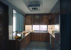 modern kitchen in modern apartment with wooden furniture