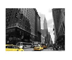 Urban Landscape. Yellow #Taxi in Downtown #Manhattan, NY, USA. Original black and white travel landscape #photography. Wall art for home decor  20 cm x 30 (7,87''x 11,81'') by CoCodeStudio, €20.00 Original Shot by Barbara Bisarello