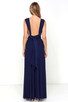 Versatility at its finest, the Tricks of the Trade Navy Blue Maxi Dress knows a trick or two! Long fabric wraps into several bodice styles. Tea Length Bridesmaid Dresses, Multi Way Dress, Convertible Dress, Infinity Dress, Blue Maxi, Purple Dress, Designer Dresses, Fashion Dresses, Navy Blue